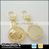 High quality gold tone custom designer metal zipper pull dolls accessories. horse dog racing luggage parts