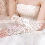 Ivory&white Pretty Hollow Bows Appliqued Fingerless Long Wedding Glove White pearl beaded satin fingerless wedding bridal gloves