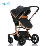High-view folding baby stroller with gold chassis