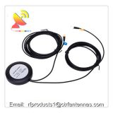 Active GSM + GPS Antenna round shape waterproof housing SMA male connector and RG 174 cable