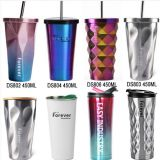 double wall stainless steel insulated ice cup , vacuum ice mug with straw