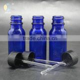 15ml cabalt blue boston round glass bottle with plastic cap and glass rod