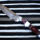 "udk h86"" custom handmade Damascus hunting knife/ Bowie knife with sheet and steel bolster handle"