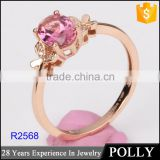 wholesale gold filled jewelry rose gold alphabet tourmaline ring 2016