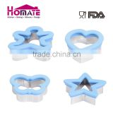 Food grade Metal 4 shapes bakeware biscuit cutter cookie cutter embossed with silicone W