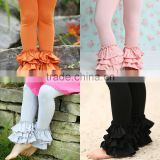 Newest icing ruffle toddler pants high quality bella triple ruffle leggings cotton kids ruffle leggings
