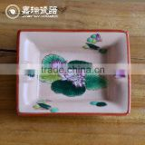 Fancy Square Hand Painted Ceramic Ashtray for sale