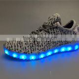 yeezy flyknit sports shoes with Led light outsole trendy shoes