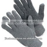 JS808/B--- Grey Cotton String Knit Glove, Knitting Glove, PVC dotted Glove, Cotton Working Glove