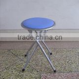 Living room furniture blue metal iron folding stool kids stool with PVC cushioned seat made in china