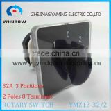 Rotary switch YMZ12-32/2 changeover cam combination switch 2 poles 3 positions 8 terminals 32A Ui 690V sliver point contacts