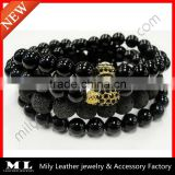 2014 Hot Sale The New Black Onyx Collection Bead Bracelet MLAS-025