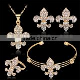 2016 Trendy Gold Plated Rhinestone Anchor Statement Necklace Stud Earring Bracelet Ring Set for Women Wedding Jewelry Set