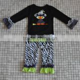 wholesale baby girl double ruffled outfits owl halloween clothes