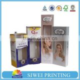 Best Selling Wholesale Custom Design Paper Hair Extension Packaging Box with pvc window                                                                         Quality Choice