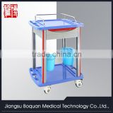 multi-function one drawer plastic-steel columns with two buckets 750 ABS medicine trolley
