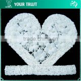 White Love 3D Flower Pearl Sequin Shirt Bead Applique Patches
