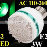 3W Energy Saving E27 LED lamp 42 pcs LED Bulb Light with blue/green/yellow light color choice led lighting