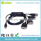 FT232 USB 2.0 TO 4 ports Serial RS-232 COM DB9 Male Adapter Cable