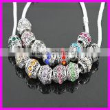 KJL-A062 New Arrival!! wholesale silver beads!! European fit shape big hole crystal beads