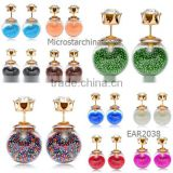 IN STOCK Korean style popular double glass ball stud candy color Pearl Earrings