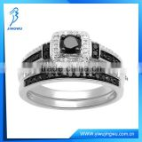 Black and White Diamond Stone Sterling Silver Ring Bridal Jewelry Set