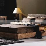 Luxury Hotel Bedroom set Rattan Indoor Furniture (Hand woven by wicker,hyacinth & wooden frame)