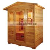 4 person big size outdoor use imported hemlock solid wood sauna massage rooms