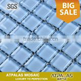 Premium Quality Square Blue Glass Mosaic Glossy Tile for Bathroom Walls and Kitchen Backsplashes,Pool Mosaic Tile