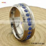 Wholesale CZ Jewelry 8mm Step Edge Titanium Ring With Blue CZ Inlaid