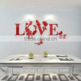 Plastic Wall Flower Decoration DIY 3D Mirror Love Decor Quote Flower Wall Stickers Decal Home Art Decor
