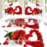 3D reactive print duvet set Red heat flower Bedding set in Double size