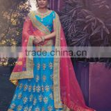 Shrewdly Marine Blue Net Lehenga Choli/fancy lehenga choli/Lehenga Choli Wholesaler In India