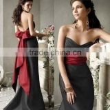 Black Satin With Bow Back Floor Length Custom Made Design Evening Party Wear Robe De Soiree ED290 back low-cut evening dress