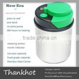 Tea and coffee canisters, vacuum sealed,FDA/EU approved, Stainless steel body, ABS,silicon gel Lid