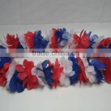 hot sale cheap customized sports fans polyester necklace/wreath, flower lei, Hawaii flower chain