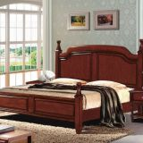 Imported Malaysian Rubberwood Bedroom Furniture set Walnut painting bed with Pine bedboard