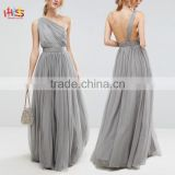 Sexy Tulle One Shoulder Nighty Cocktail Maxi Dress Open Back Lined Tulle Maxi Dress HSd7563