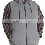 Draw-strings for hood adjustment hoodie vest Quilted fleece construction Sleeveless vest hand pockets with Zipper
