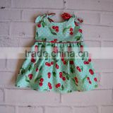 Wholesale baby clothes st patricks day sleeveless ruffle floral green dress baby frock design pictures