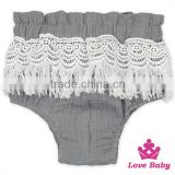 Infant Clothes Soft Plain Light Gray Tassels Free Panties Newborn Baby Toddle Girls Shorts PP Pants