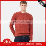 Men's chunky cable knit pattern cotton sweater for wholesale