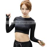 Women Backless Running T Shirt Quick Dry Elastic Running Tops Long Sleeve Sports Yoga Sportwear Fitness Midriff-baring Tees