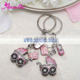 AR20 Baby Carriage Favors Metal Pink Car Shaped Keychain