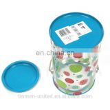 Christmas candy can with PET body and a handle tin can