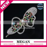 Cheap Silver Plated Bowknot Shape Rhinestone Hair Clips ornament for Girls