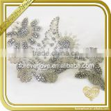 Crystal embellishments bridal beaded rhinestone appliques trimming for dress FHA-051