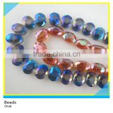Jewelry Decoration Oval Shape Faceted Crystal Loose Beads 12*10 mm Colorful Glass Strands Beads