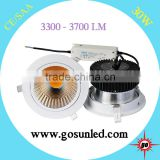 Super brightness 3400-3700lm dimmable 30W led cob downlight with white/black/silver frame