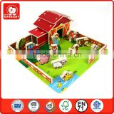 high quality alibaba china silk screen printing plug type vertical farm animals in front of house wooden 3d puzzle